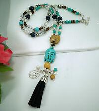 Kette Buddha Halskette Anhänger Edelsteine Lapis Lazuli Türkis Jaspis Quaste