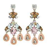 Beautiful Multilayer Stunning Flower Drop Rhinestone Tassel Chandelier Earrings