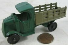 Antique 1920's-30's Tootsie Toy Lead Wheels C-Top Green Mac Stake Truck