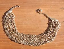Vintage Gold-Tone Multi-Strand Chain Necklace 9 Strands