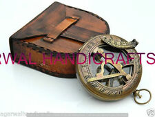 Solid Brass Sundial Push compass with Leather Case