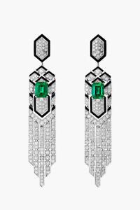 4.52CT ROUND DIAMOND 14K SOLID WHITE GOLD EMERALD ENAMEL DANGLER EARRING