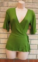 PIECES GREEN SHORT SLEEVE WRAP BELTED SIDE PEPLUM FIT TOP BLOUSE SHIRT 10 12 M