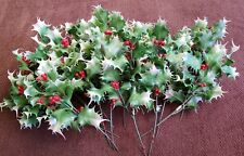 Vtg Retro Inarco Christmas Holiday Season Decor Holly Berry Faux Sprig Leaves