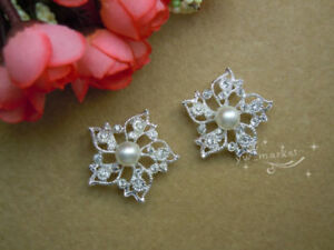 25 Pcs Pearls&rhinestone Dress Applique Sew on  Jewellery Accessory A3