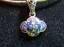 Pretty blue Enamel & Sterling pendant/choker with marcasite and crystal accents