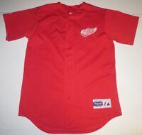 NHL Hockey Vintage Detroit Red Wings Baseball Style Sewn Jersey Medium Majestic