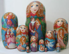 "Handpainted One of Kind 10pcs Russian Nesting Doll ""Mermaids"" By Inna Kaminskaya"
