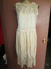 Antique Gatsby cream beaded silk 1920's flapper dress