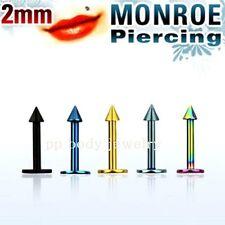 "1pc. 18g~1/4"", 5/16"", 3/8""- 2mm Cone Spike Titanium Anodized Steel Labret/Monroe"