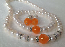 Real White Akoya Cultured Pearl/Orange Jade bracelets necklace earrings set /A06