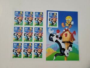 1998 Sylvester & Tweety Looney Tunes Pane of 10x32 Cent Stamps Scott's 3205 MNH