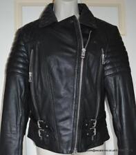 All Saints Hemming Leather Biker Jacket in Black Size 12