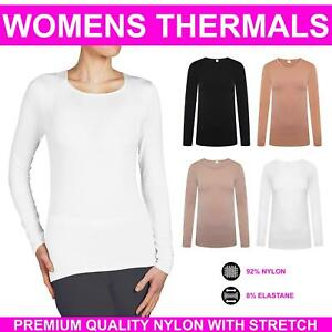 Ladies Long Sleeve Thermal Top Womens Scoop Neck Stretch Winter Warmer T Shirt