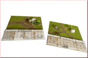 Pflasterweg mit Landschaft, 2 Stck für Schleich Pferde Modellbau men100880