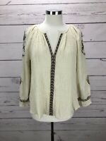 Lucky Brand Women's Size M Floral Embroidered Gauze Ivory Blouse Top Long Sleeve