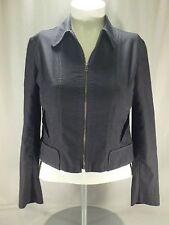 Womens Harve Benard Slate Gray Pinstipe Fitted Denim Lightweight Jacket Coat M