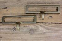 """2 old file drawer Pulls handles 4 1/2"""" card holder vintage brass Weber Knapp USA"""