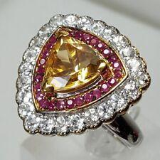 HSN Sima K 5.03ct Citrine-Ruby-Topaz 925 Sterling & Vermeil Trillion Ring SZ 9