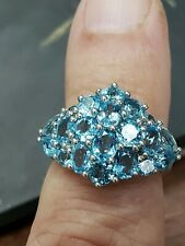 14kt white gold ring with perfectly matched blue stones size 71/4