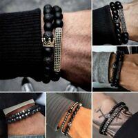 2pcs Crown Natural Volcanic Stone Beaded Bracelet Men Matte Lava Jewellery Gifts