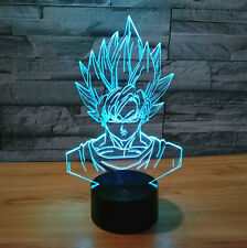 Dragon Ball Z Super Saiyan God Goku Action Figures 3D Table Lamp 7 Color Change