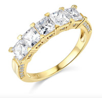 3 Ct Princess Cut Real 14k Yellow Gold 5-Stone Wedding Anniversary Band Ring