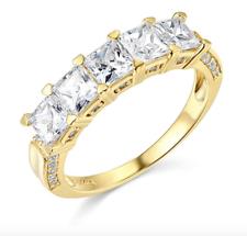 3 CT princesa Corte Real Oro Amarillo 14k 5 Piedra Anillo de boda banda de aniversario