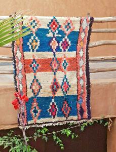 Worn Moroccan vintage Boujaad wool rug 162 x 109 cm