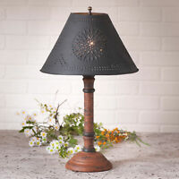 TABLE LAMP & PUNCHED TIN SHADE - Distressed Pumpkin over Black Crackle Finish