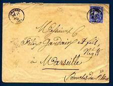 FRANCE - FRANCIA - 1877 - Da Airaines, dipart. della Somme, a Marsilia - 15c olt