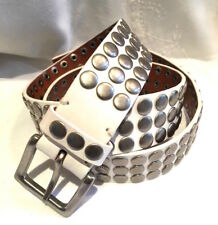 463462344 Ted Baker 4   14- 16 -18 White Leather Metal Stud Belt Used Once