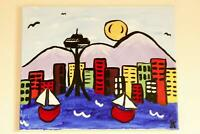 City of Seattle Skyline 20″x16″  Whimsical Kids Art Acrylic On Canvas Painting