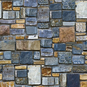 10m 3D Rustic Brick Stone Wallpaper Self Adhesive Wall Stickers Kitchen Decor