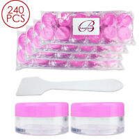 240PCS 10G/10ML Makeup Cream Cosmetic Pink Sample Jar Containers with Spatulas