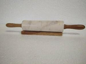 Creative Home Marble and Wooden Rolling Pin (White, 16x2-inch)