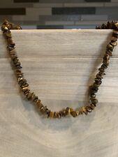 "Stunning Tigers Eye Gemstone Vintage Antique 34"" Necklace Costume Jewelry"
