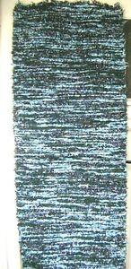 60 x 160 cm Large Boho Blue Green White Woven Chindi Rag Rug Runner
