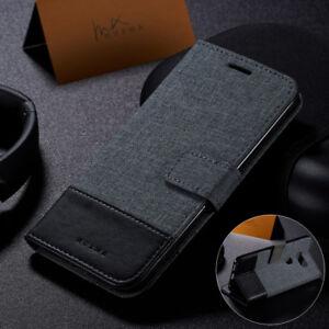 Hybrid Flip Wallet Case Canvas Leather Cover for LG G5 G6 Q6 G8 V35 V40 ThinQ