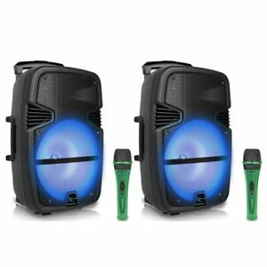 """(2 Qty) Technical Pro 3000W 15"""" Bluetooth LED Portable PA Speaker & Microphone"""