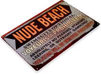 TIN SIGN Nude Beach Metal Décor House Cottage House Store Shop Bar A860