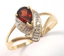 SYJEWELRYEMPIRE 10KT SOLID YELLOW GOLD GARNET & DIAMOND RING SIZE 7   R1299