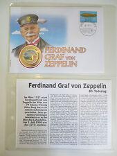 Numisbrief Schweiz 1997 - Graf von Zeppelin - 500 Francs Benin 1997 farbig