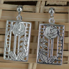 "Sterling Silver Charles Rennie Mackintosh Earrings ""De Luxe"""