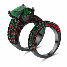 Size 6 Black Gold Platinum Plated Emerald Wedding Engagement Ring Pair Propose
