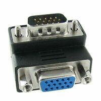 90 Degree Angled VGA SVGA 15Pin Male to VGA 15Pin Female Monitor Adapter