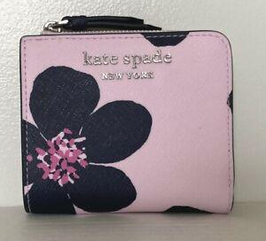 New Kate Spade Cameron Grand Flora small L-zip Bifold wallet Serendipity Pink