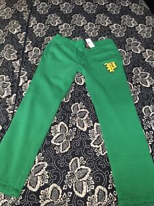 Polo Ralph Lauren Yale Green Varsity Gothic P Patch  Jogger Sweat Pants very RRL