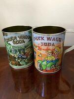 Set Of 2 Vintage Chuck Wagon Soda Large Tin Mugs 4 Wheeling And Hillbilly