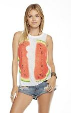 CHASER REFLECTED WATERMELONS WHITE MUSCLE TANK VINTAGE JERSEY T SHIRT XS NEW